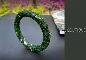 ミャンマー産天然無処理翡翠 彫刻 バングル ブレスレット 艶緑 墨翠